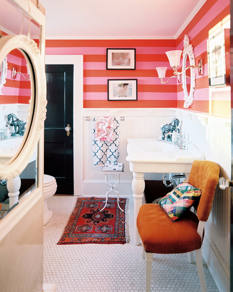 Eclectic-Bathroom-Pink-red-stripes-white-paneling