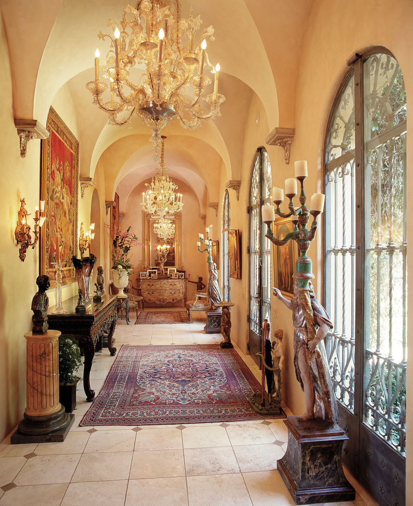 Graceful-Metallic-Glass-home-interior-design-Traditional-Entry-Los-Angeles
