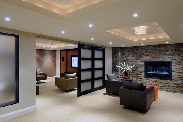 Lounge and Media Room contemporary-basement