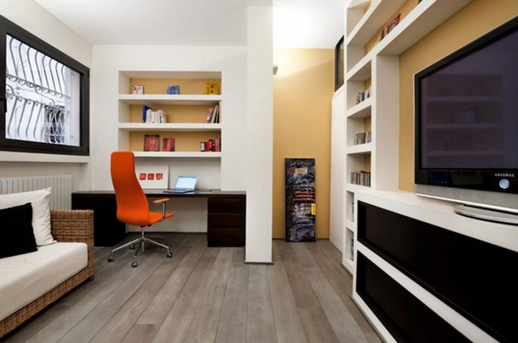 Small-Modern-Home-Office-Ideas-Orange-Office-Chair-Wooden-Floor