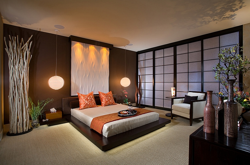 Stunning-Asian-style-bedroom-with-platform-bed-and-pendant-lights
