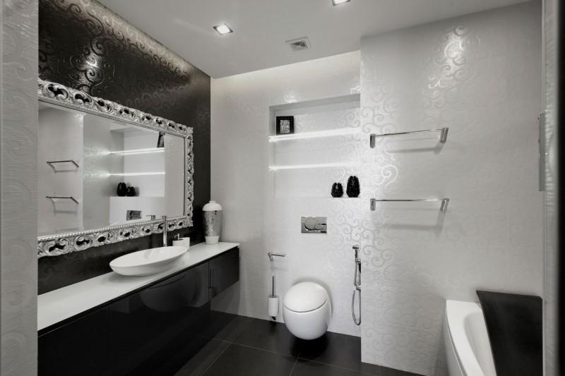 Stunning-Lighting-inside-Black-And-White-Bathroom