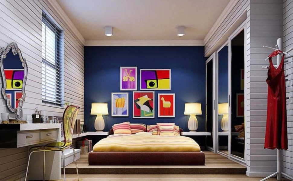 colorful-wall-decorating-for-bright-bedroom-luxury-bedside-drawers-furniture-ideas-sets-decorating-paint-colors-modern-wallpaper-interior-lamps-shade-decor-design-970x598