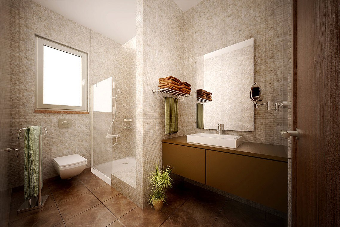 elegance-modern-bathroom-design-ideas-soft-brown-mosaic-ceramic-wall-brown-ceramic-flooring