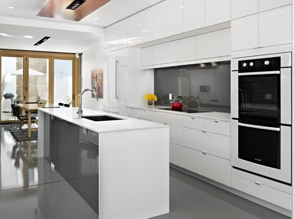 kitchen-trends-2015-white-modern-kitchen-gray-accents-black-ovens