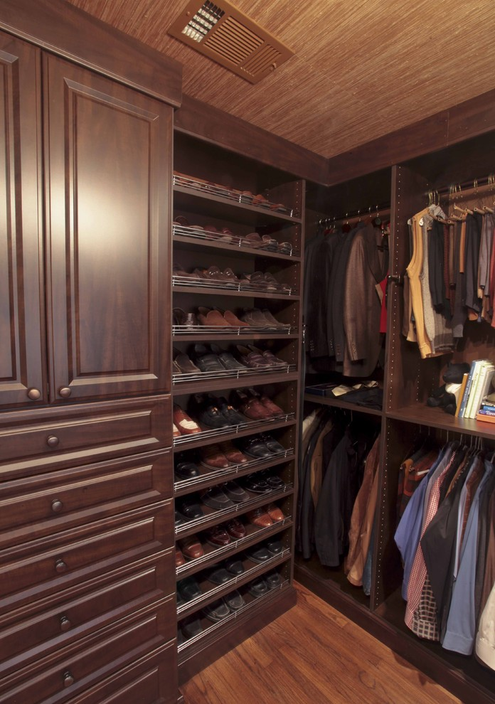 shoe-racks-for-closets-Closet-Traditional-with-dark-wood-cabinets-hanging-rods