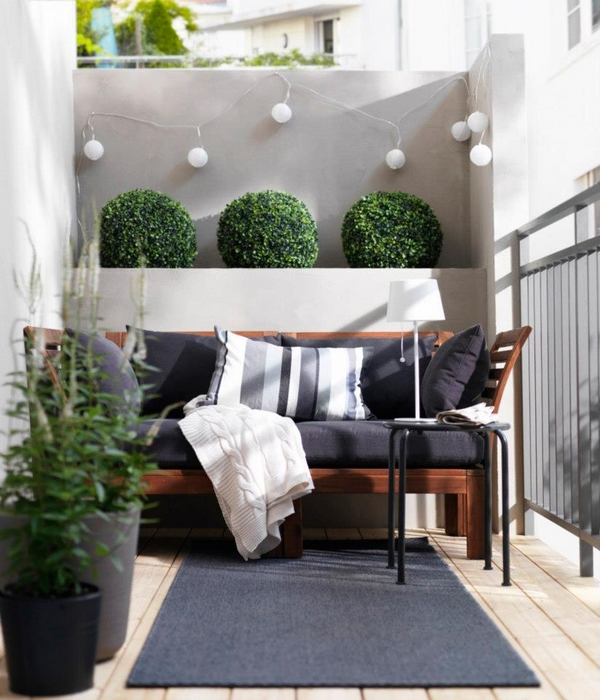 small-balcony-design-ideas-stylish-modern-home-exterior-bench-gray-upholstery-plants