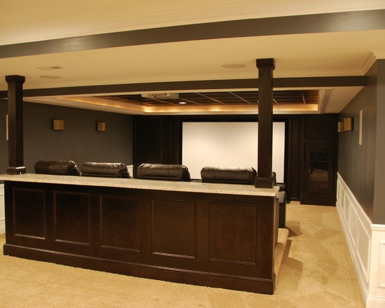 stunning-traditional-basement-for-home-theater-room-also-modern-wooden-divider-with-cream-carpet