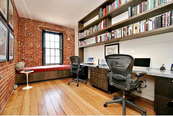 Awesome-home-office-brick-wall-idea