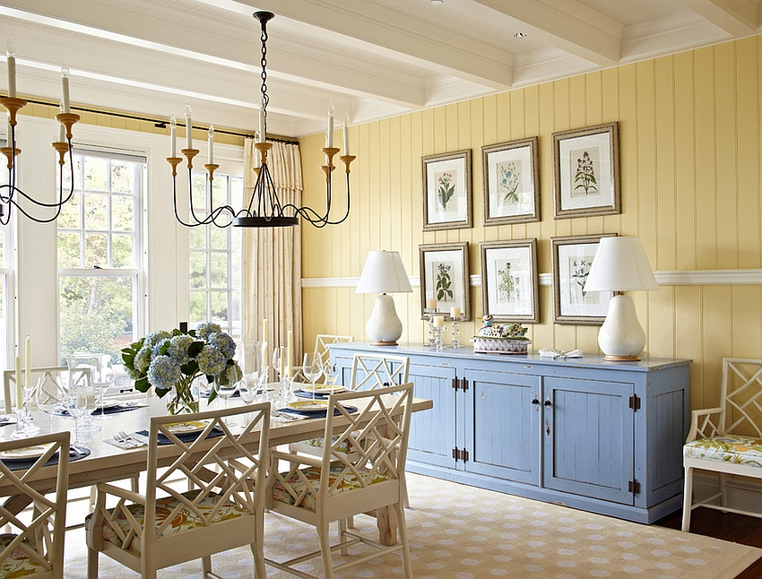 Beach-style-dining-room-in-yellow-with-a-pop-of-blue