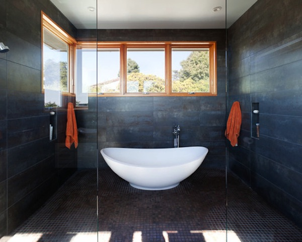 Black Tile Wall Industrial Style Bathroom Design