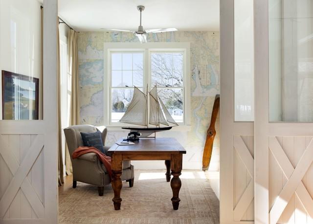 Coastal Loft Study beach-style-home-office