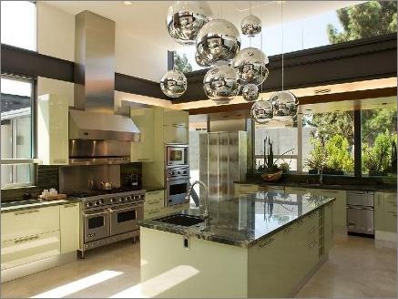 Fresh-Green-Mid-Century-Kitchen-Design-with-Granite-Island-and-Unique-Bright-Hanging-Luminous-Ball-Lightings