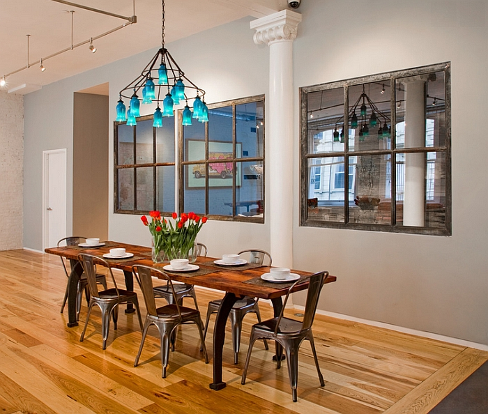 Industrial-style-dining-room-with-a-colorful-chandelier