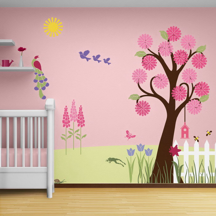 NUrsery-Room-with-Tree-Wall-Mural-Stencils
