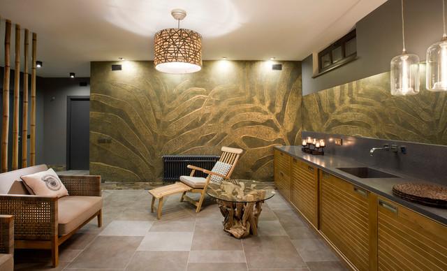 Premium Beach Style Basement Design Ideas