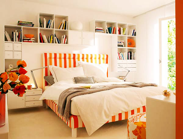 blue-white-orange-bright-colorful-bedroom decor stunbning