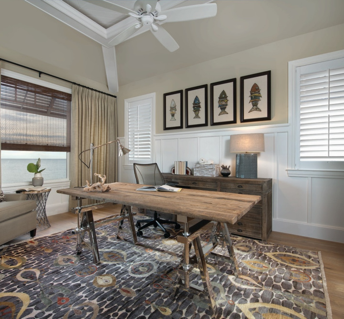 ceiling-fan-and-fish-artwork-beach-style-home-office