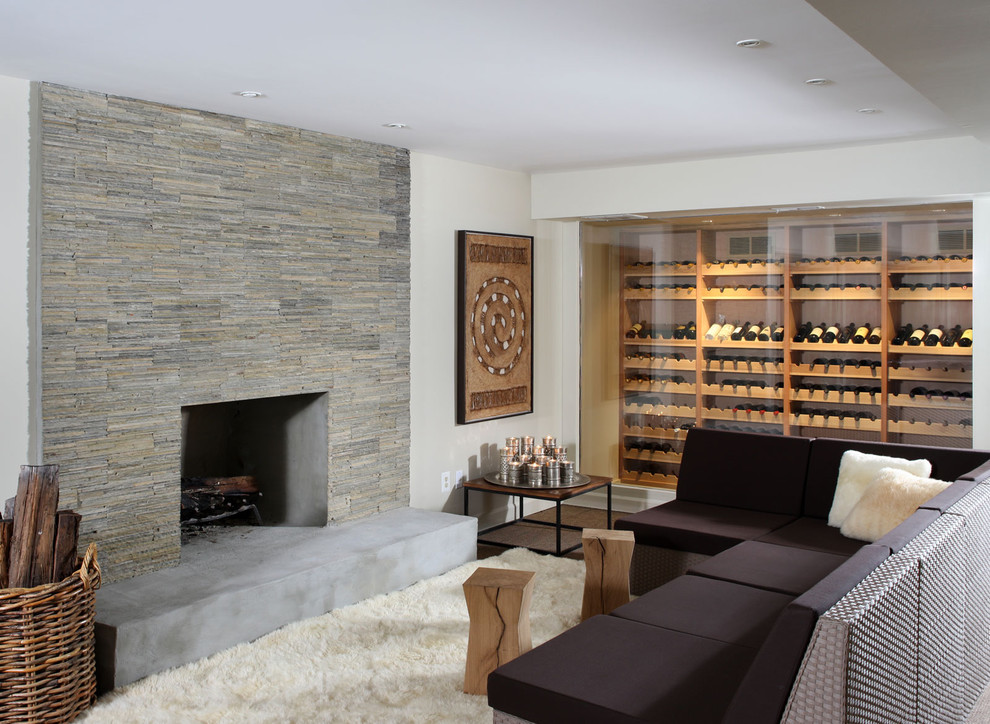 how-to-build-a-wine-cellar-Basement-Contemporary-with-fireplace-hearth-firewood-storage