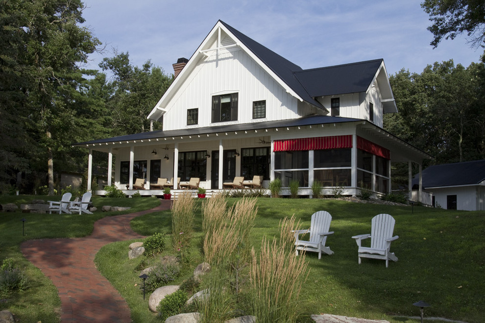 sun-porch-designs-Exterior-Farmhouse-with-Adirondack-chairs-board-and