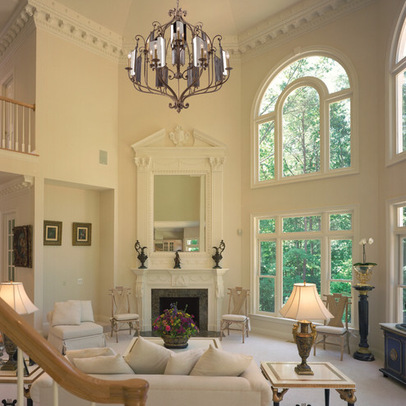 traditional-living-room with tall ceiling