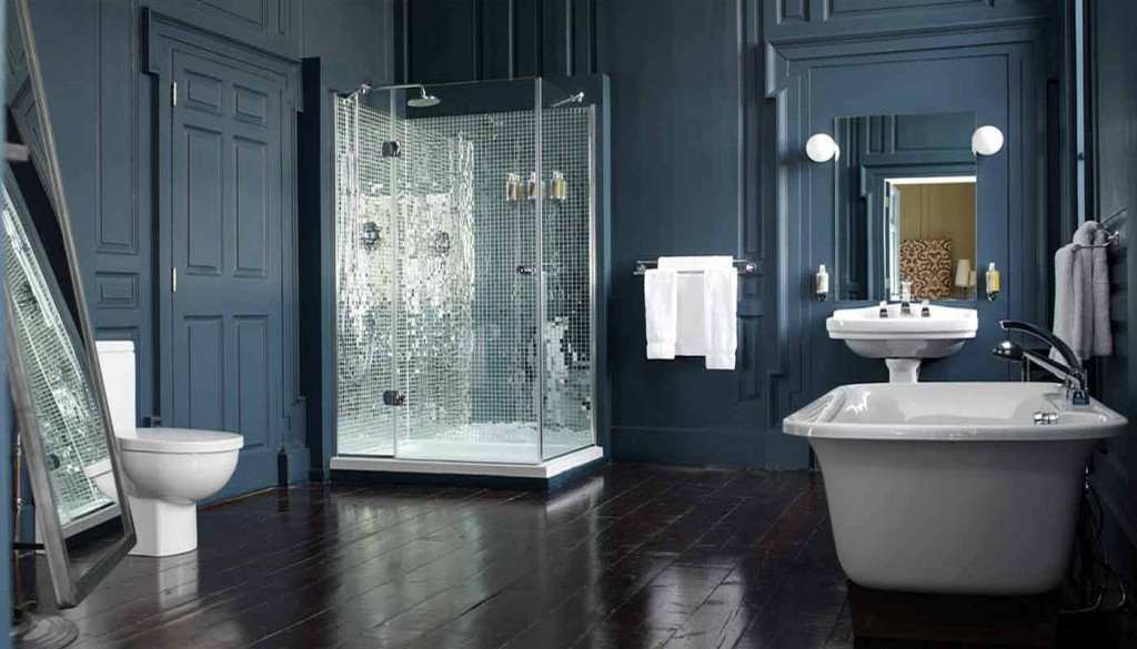 Cool-Luxurious-Bathroom-With-Blue-Wooden-Wall-And-Glass-Shower-Enclosure