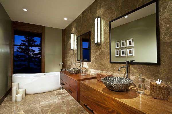 Luxury-Granite-Bathroom-Design-with-Wooden-Vanities