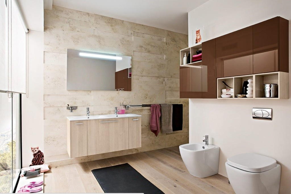 Modern-Bathroom-Ideas-With-Wooden-Vanities-nd-Red-Cabinet-Wall-Mounted