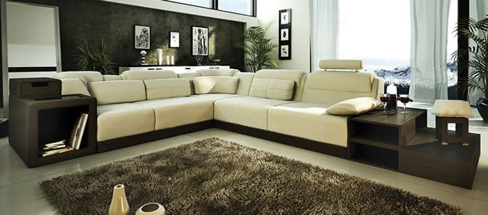 Modern Italian Design Beige Leather Sectional Sofa