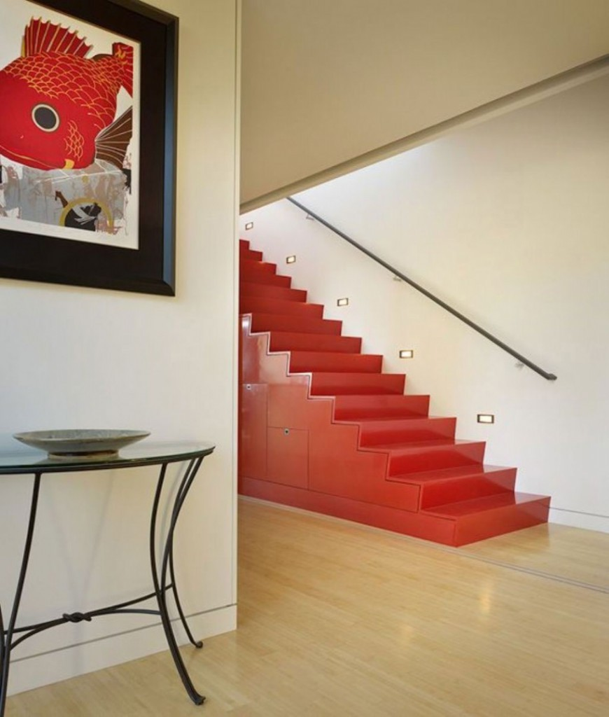 Wonderful-Stair-Design-Red-Color-with-Fish-Paint-and-Wooden-Floor