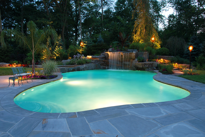 backyard-lighting-design-for-swimming-pool-waterfall-area-new-jersey