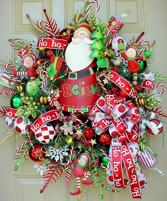 Colorful-Christmas-Decor-With-red-white-jingle-bells-door-ornament