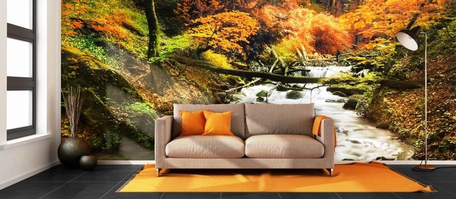 Modern living room with orange wall