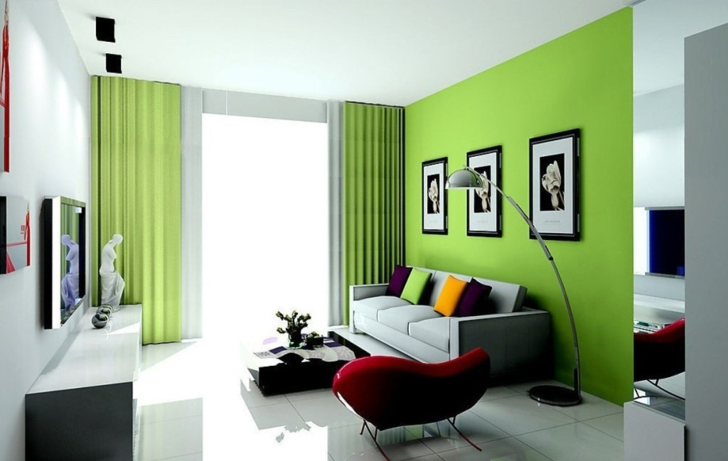 Green-Living-Room-Color-Ideas-With-Fireplace
