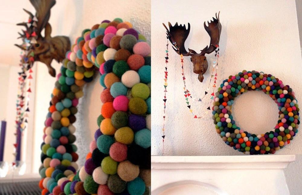 Modern-Colourful-DIY-Felt-Ball-Christmas-Wreath