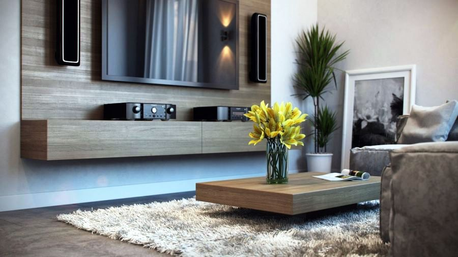 Sleek-wooden-coffee-table-in-the-living-room