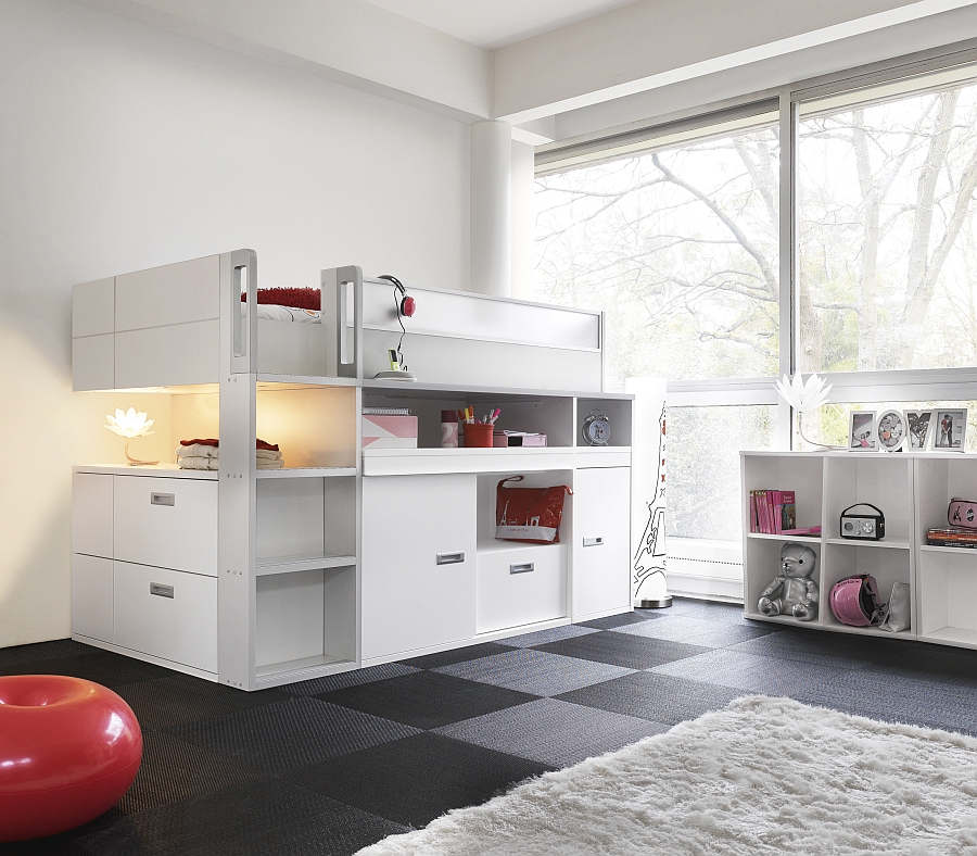 Stylish-top-bunk-bed-with-storage-and-workdesk-underneath-