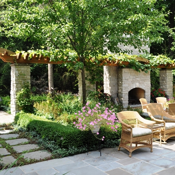 patio-decoration-ideas-grape-arbor-stone-pillars