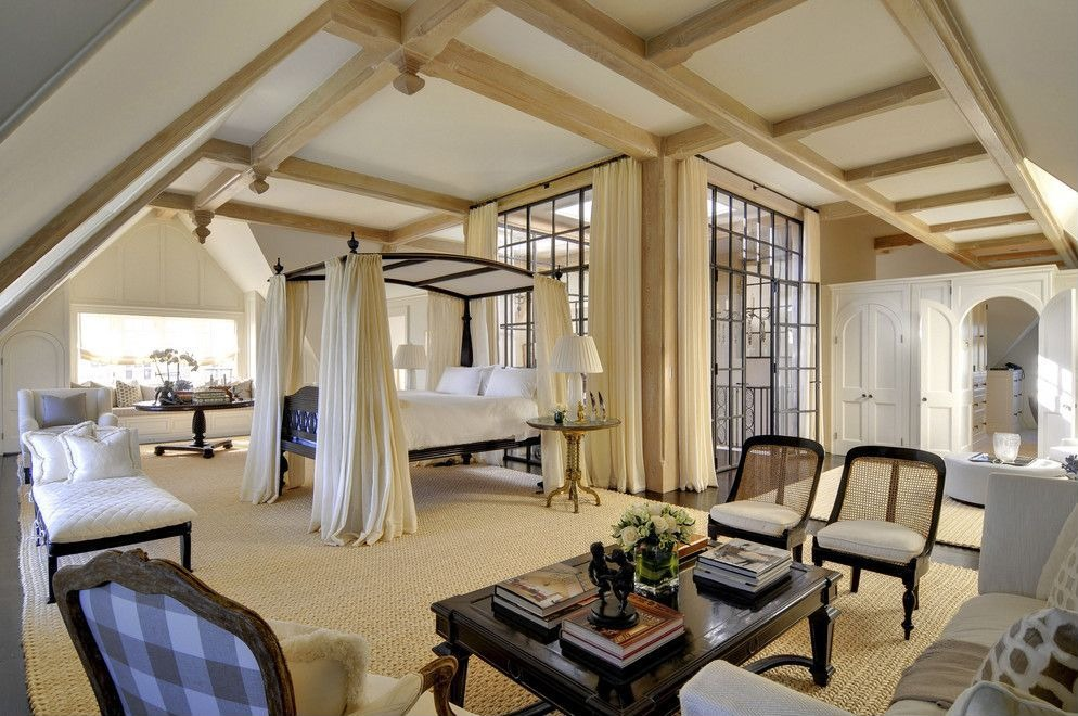 L-shaped master bedroom