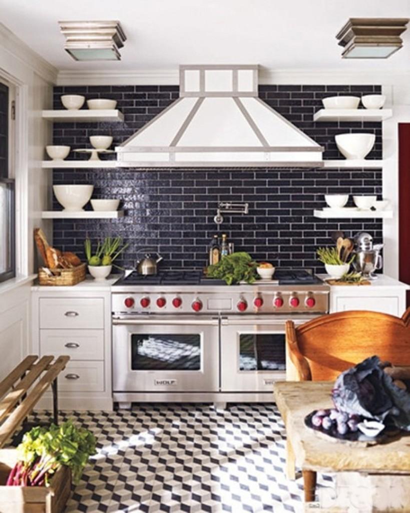 Kitchen Wall With Brick Kitchen