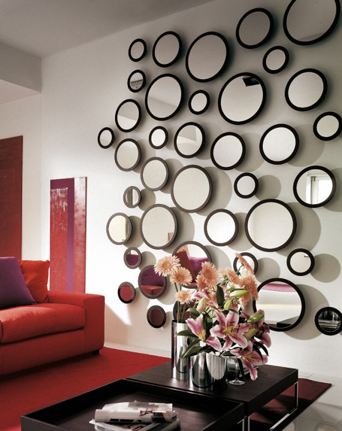 Living Room Mirror Wall Medium Small Round