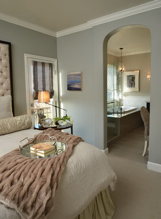 Warm Grey and White Transitional Bedroom