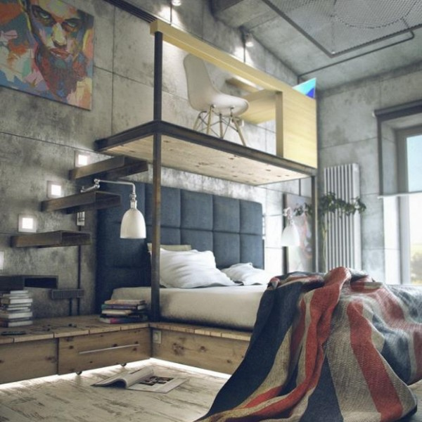 industrial small studio apartment ideas