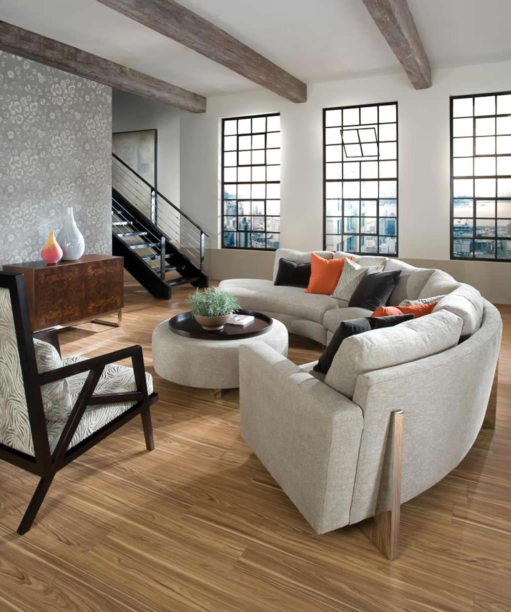 Living Room Interior Design with cool Clip Sectional Sofa