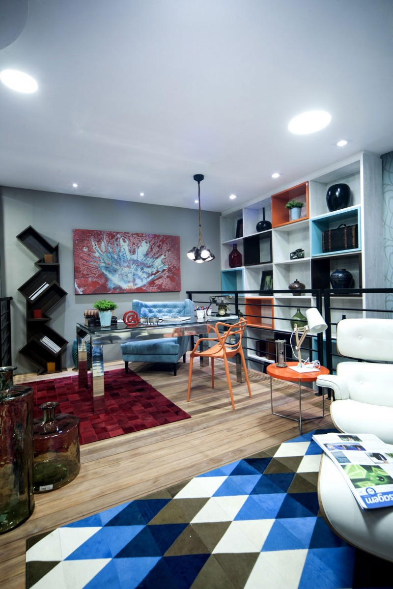 custom-black-cabinet-and-cool-blue-pattern-rug