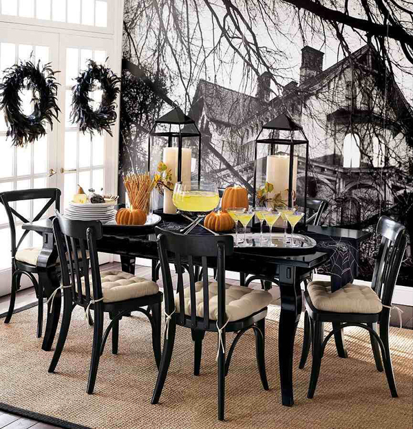 Spooky Indoor Halloween Dining Room