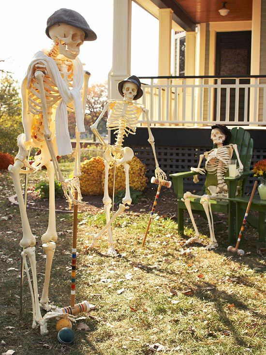 Funny Halloween Decorations Skeletons Playing Croquet