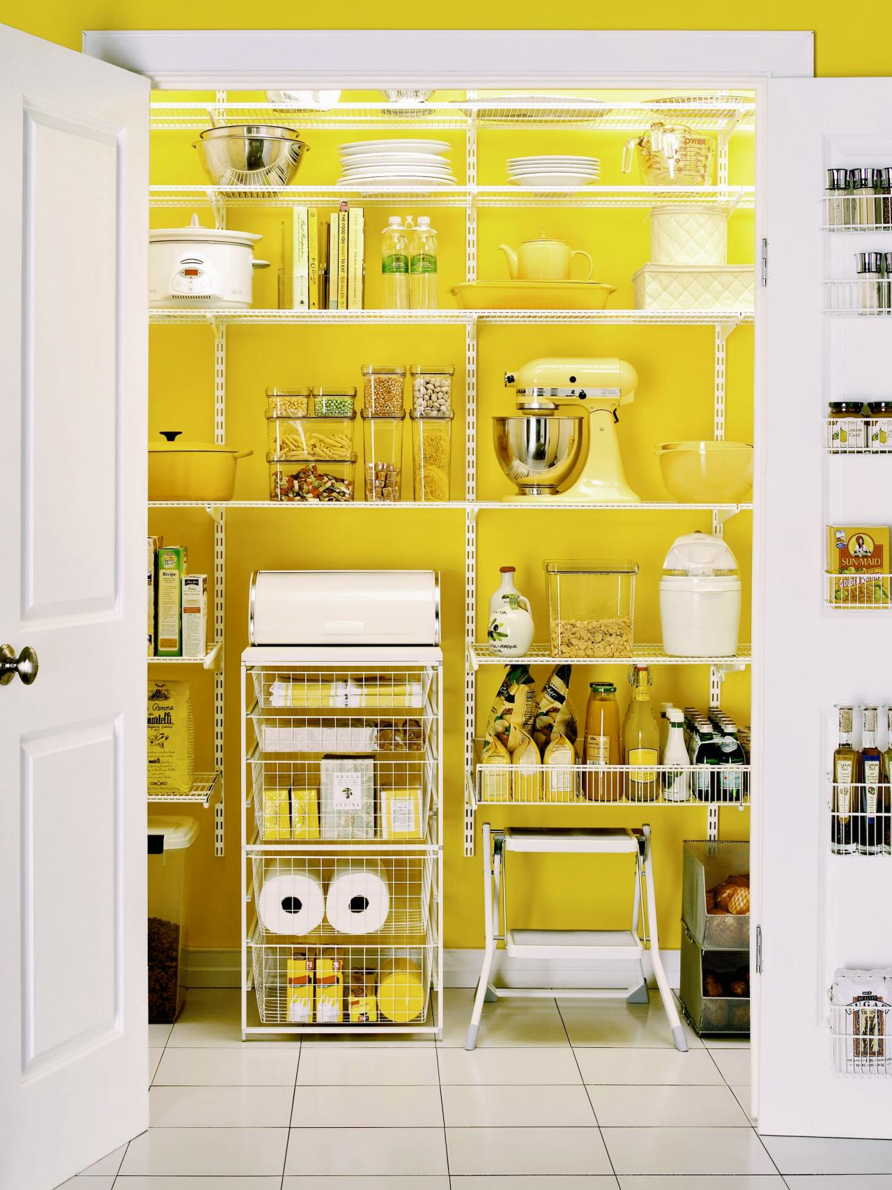 Lively Yellow Color Kitchen Pantry Design