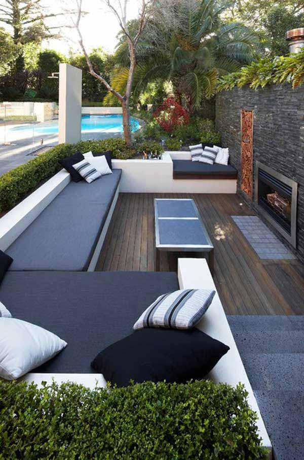 Sunken Wooden Modern Patio Design