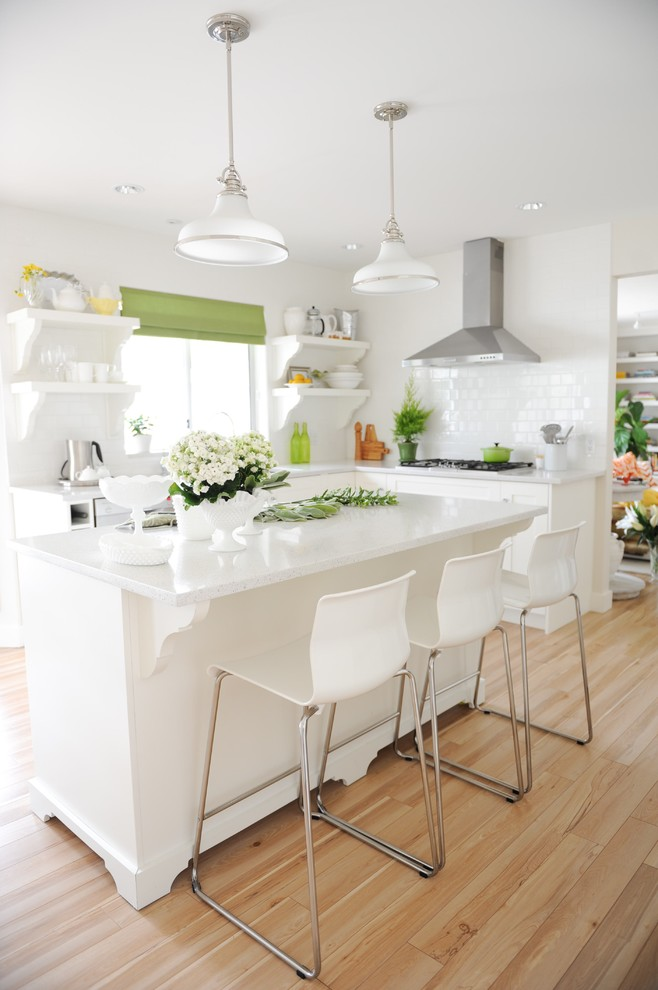 All White Transitional Kitchen Design